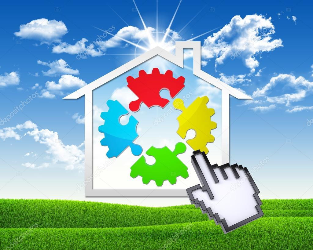 House icon with gear of puzzles