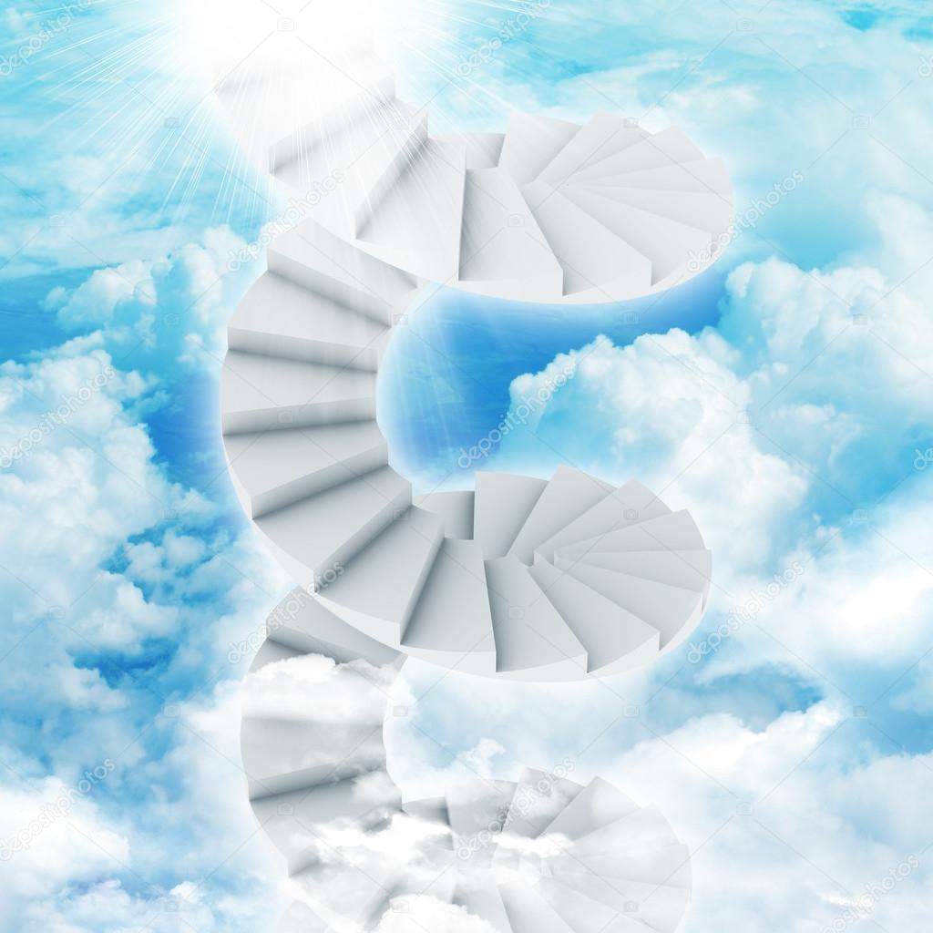 Escaleras de caracol en el cielo con nubes y sol foto de - Cerrar escalera caracol ...