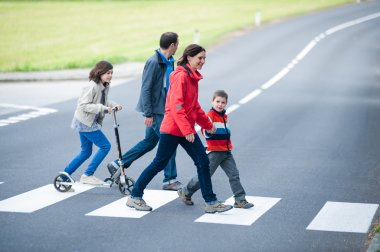 Family walk at the Crosswalk