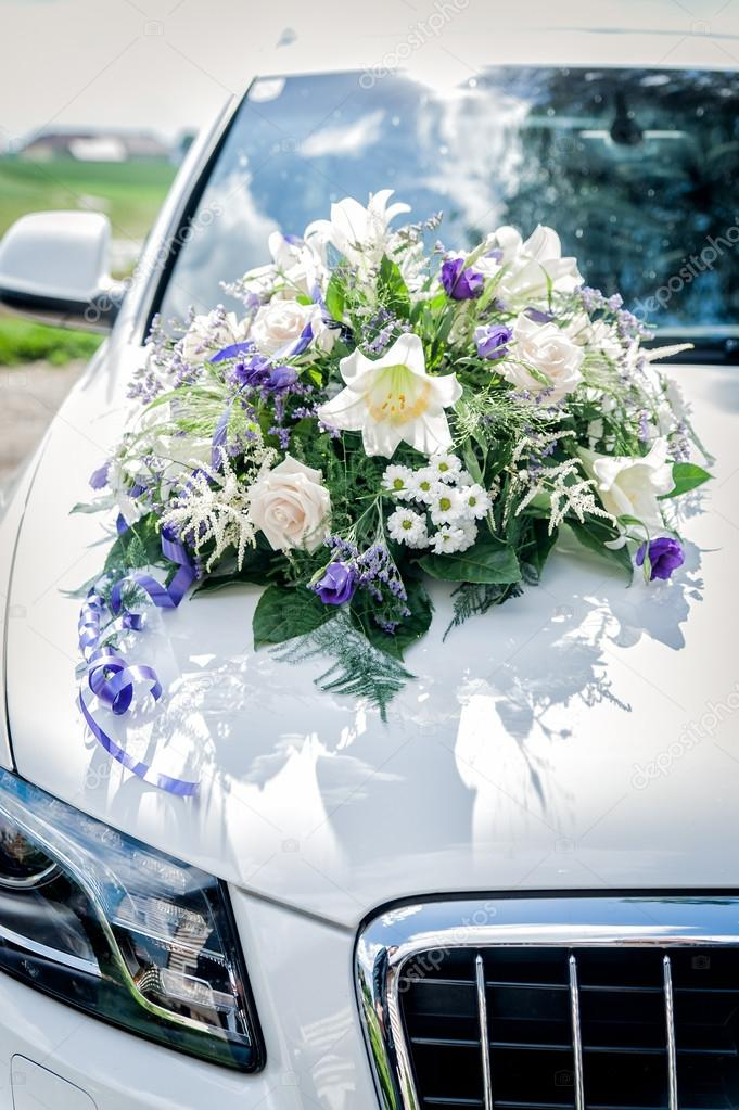 White Car with Flower Bouquet