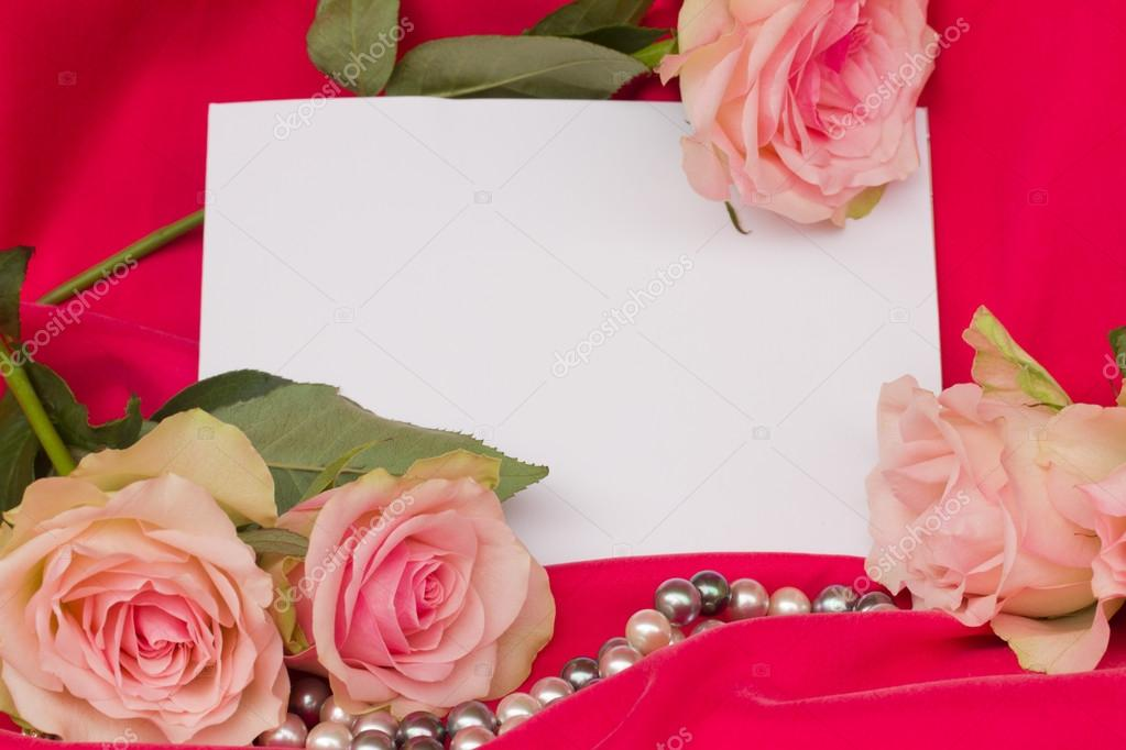 Pink roses with pearls strand and blank card
