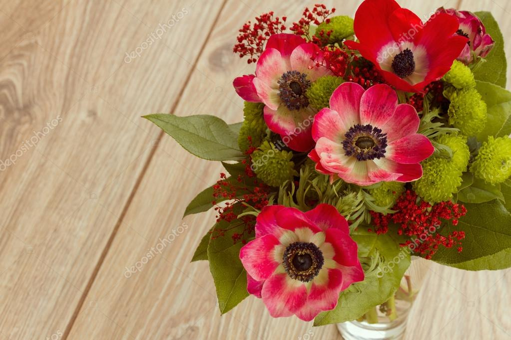 Bouquet of red anemone flowers