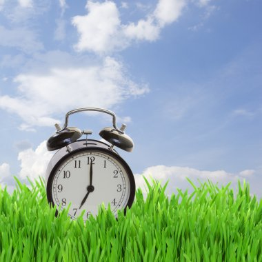 Time concept - alarm clock in grass on blue sky stock vector