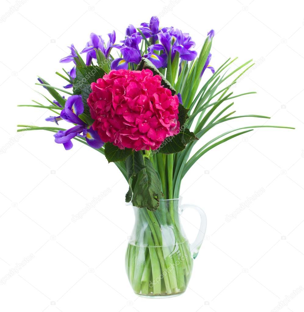 Hortensia and iris flowers bouquet stock photo neirfys 34167143 hortensia and iris flowers bouquet stock photo izmirmasajfo