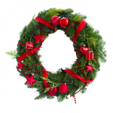 Green christmas wreath with red decorations