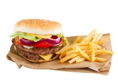Burger and french fries on paper