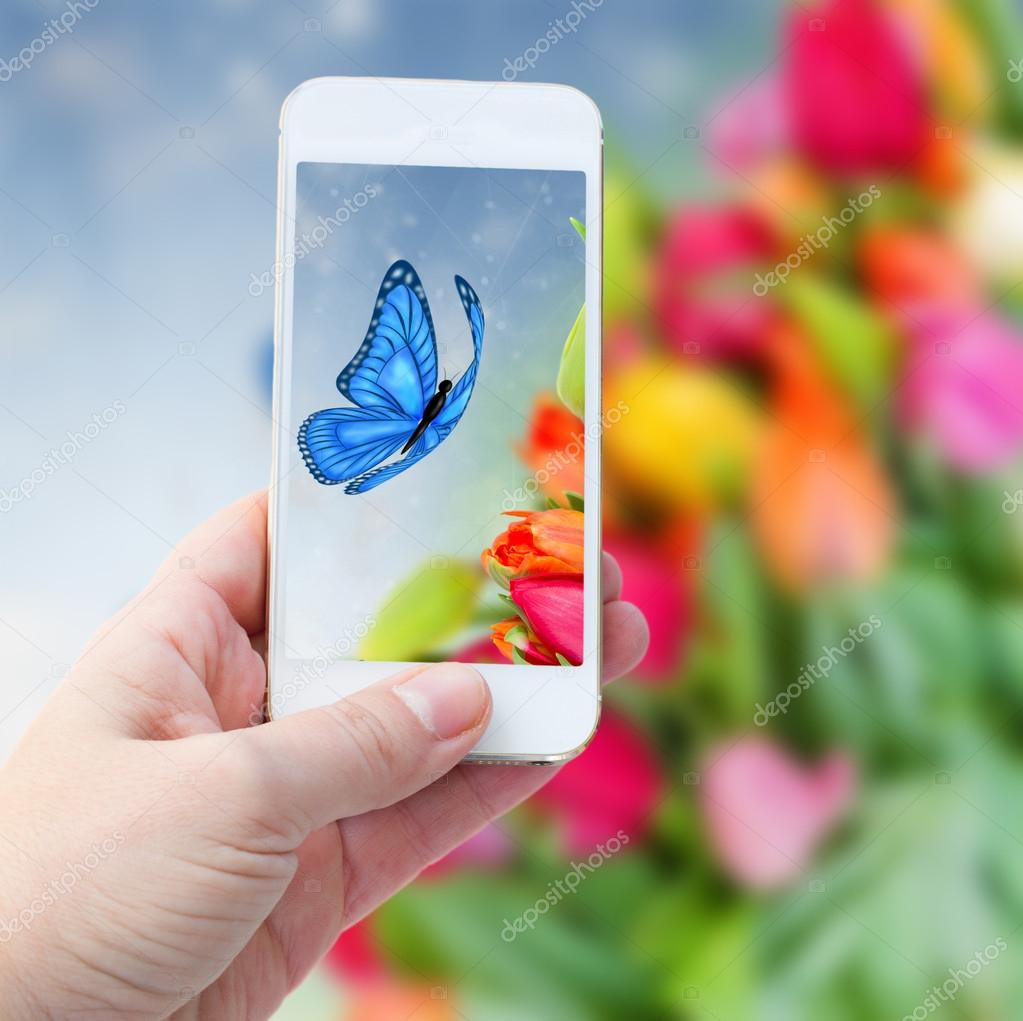 Taking picture with  smart phone against summer  background