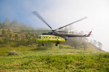 Large helicopter lands in the forest in the fog.