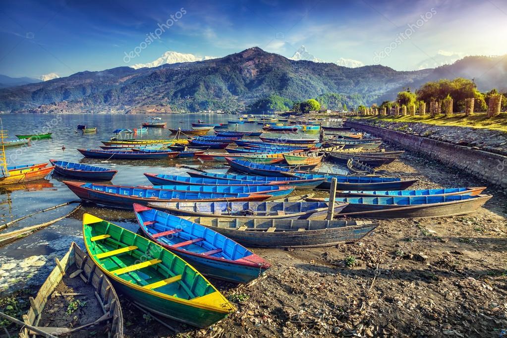 Boats in Pokhara lake