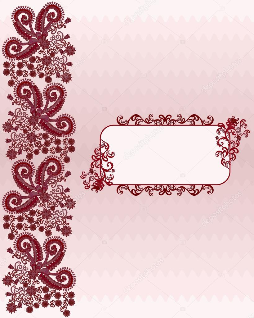 Bordure Marron Sur Un Fond Ondul Dans Les Tons Roses Avec Cadre Verdoyant Pour Une Inscription Vecteur Par Rait