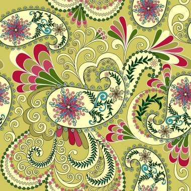light yellow paisley, decorated with leaves and flowers
