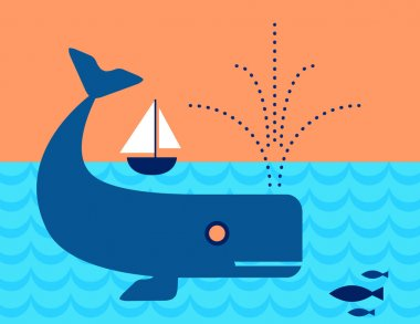Whale in the ocean swimming under a Sailboat