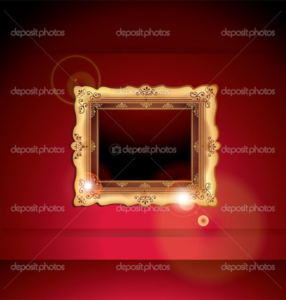 marco de oro contra la pared de la galería — Vector de stock ...