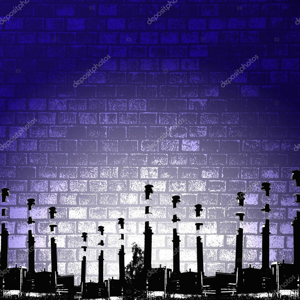 Grunge silhouette, industry background illustration.