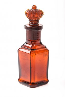 Glass brown retro bottle with stopper crown