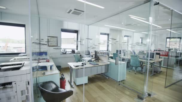contemporary office spaces. view around a stylish contemporary office space with no people \u2014 stock video spaces
