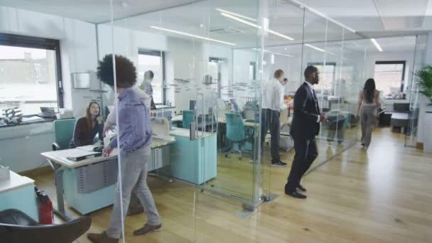 multi etnické mladí profesionálové pracují společně v současné úřadu