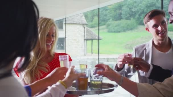 Diverse group of friends raise glasses for toast