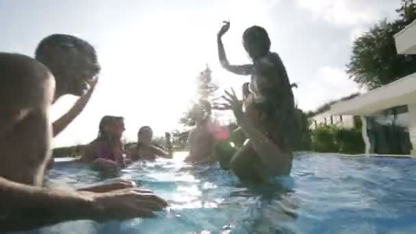 Friends at summer pool party