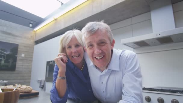 Mature couple having video chat from computer screen's pov