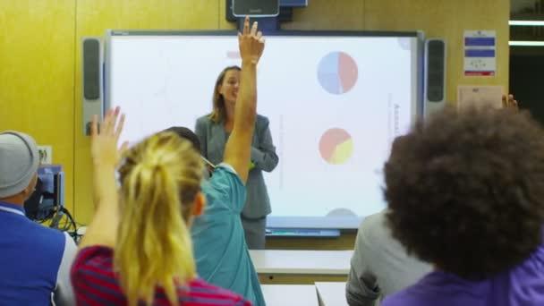 Teacher explaining subject to students