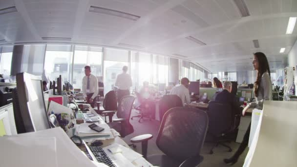 Diverse business group working together in large modern city office