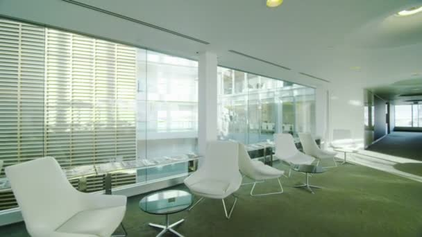 Modern office building with glass partitions