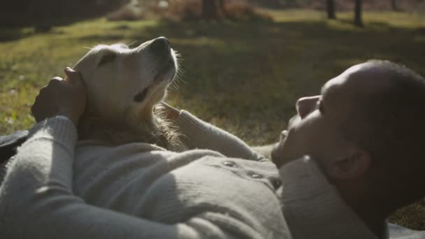 Man and dog spend time together