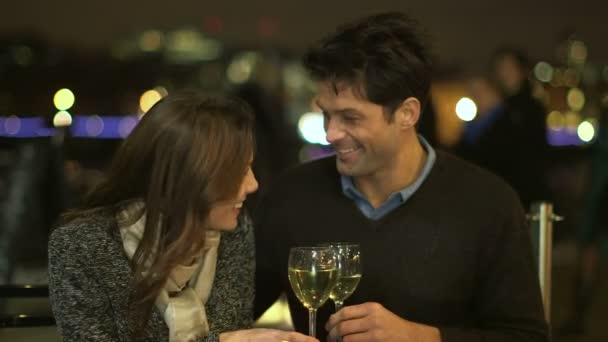 Couple in love drinking wine