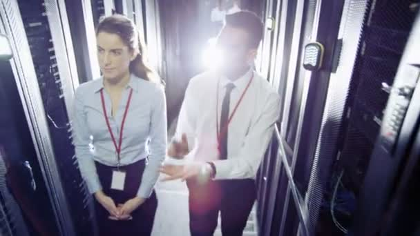 IT engineers working in a data center