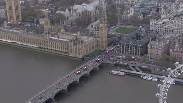 Aerial view of traffic crossing the Thames in the London city of Westminster