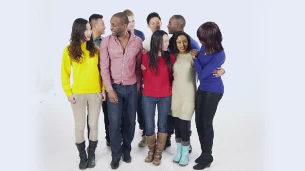 Multi ethnic people are standing together