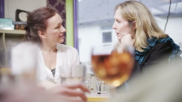 Attractive mature female friends chatting together over drinks