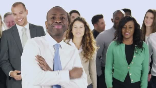 Happy business people are standing together