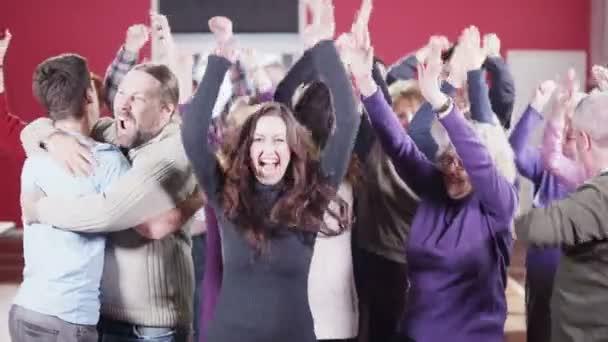 People celebrating joyous event