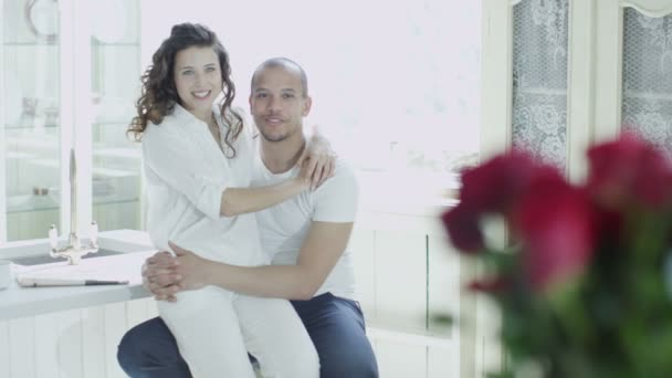 Mixed race couple relaxing together