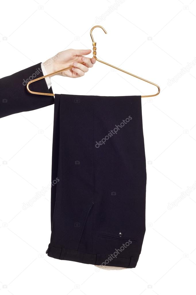 pants on hanger isolated on white