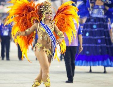 RIO DE JANEIRO - FEBRUARY 10: A woman in costume dancing on carn