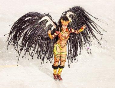 RIO DE JANEIRO - FEBRUARY 11: Samba dancer in costume singing an