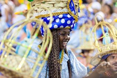 RIO DE JANEIRO - FEBRUARY 11: A woman in costume singing and dan