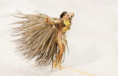 RIO DE JANEIRO - FEBRUARY 11: A woman in costume dancing on carn