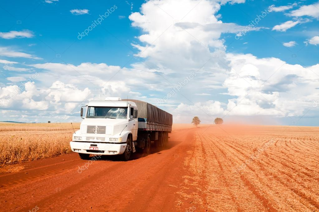 truck moves through fields of Brazil