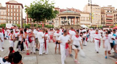 PAMPLONA, SPAIN - JULY 10: People in square Castillo at San Ferm