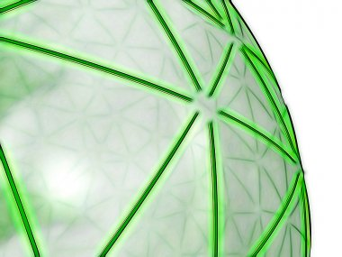 Green spheric network on transparent surface