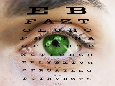 Eye test vision chart with man's face background