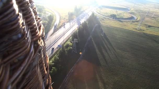 View from hot air balloon on road