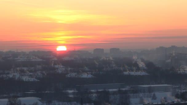 sunset in winter city timelapse