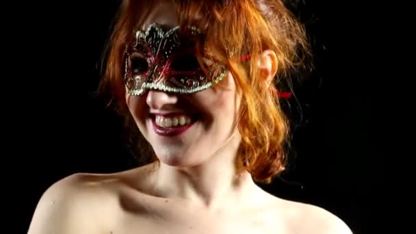 Red Woman in mask smile - emotions in focus