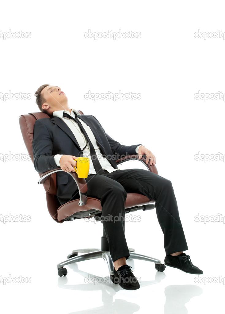 Imagen del Gerente de oficina cansada descansando en silla — Foto de Stock 93a3dffb570d
