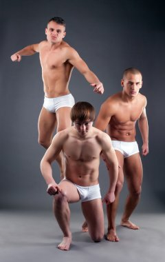 Image of attractive male models advertising briefs